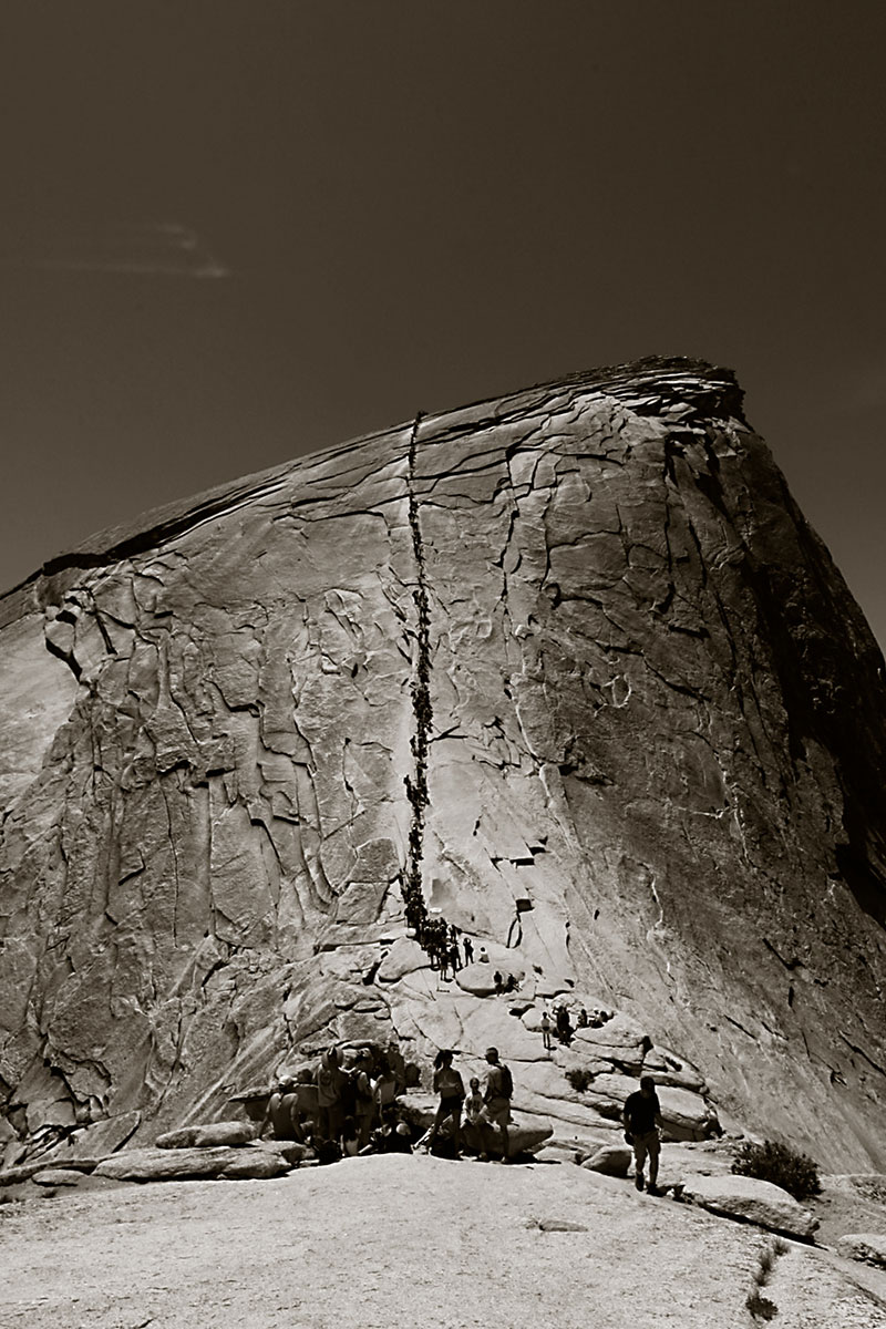 Climbing Half Dome, the stairs